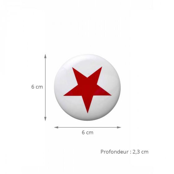 3 patères rondes en céramique blanche avec imprimé rouge (Médium)