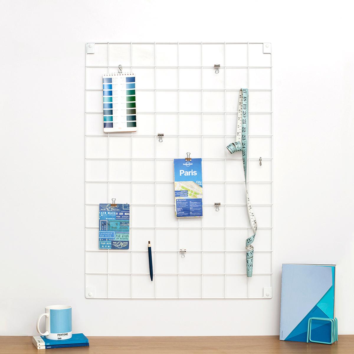 grille murale en fil blanc. Black Bedroom Furniture Sets. Home Design Ideas