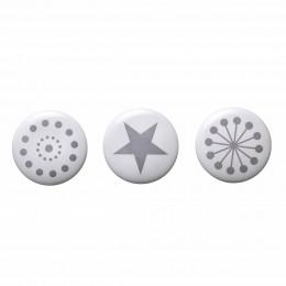 3 patères rondes en céramique blanche avec imprimé gris (Large)
