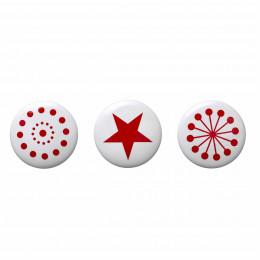 3 patères rondes en céramique blanche avec imprimé rouge (Large)