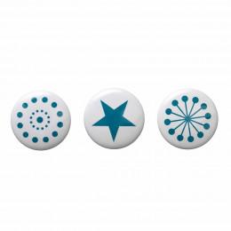 3 patères rondes en céramique blanche avec imprimé bleu pétrole (Large)