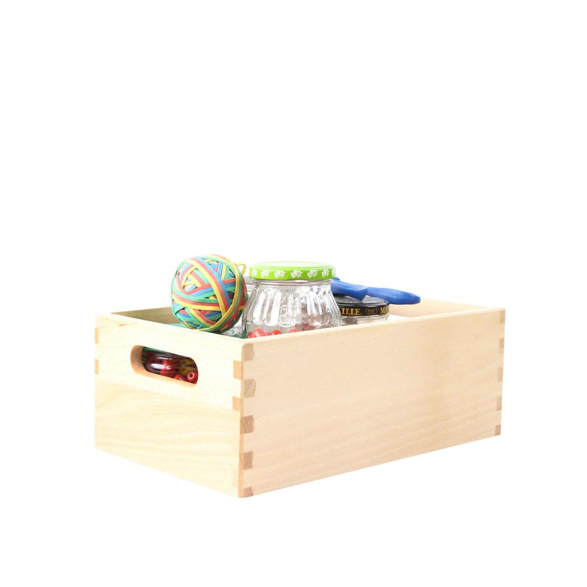caisse en bois clair 29x18x11. Black Bedroom Furniture Sets. Home Design Ideas