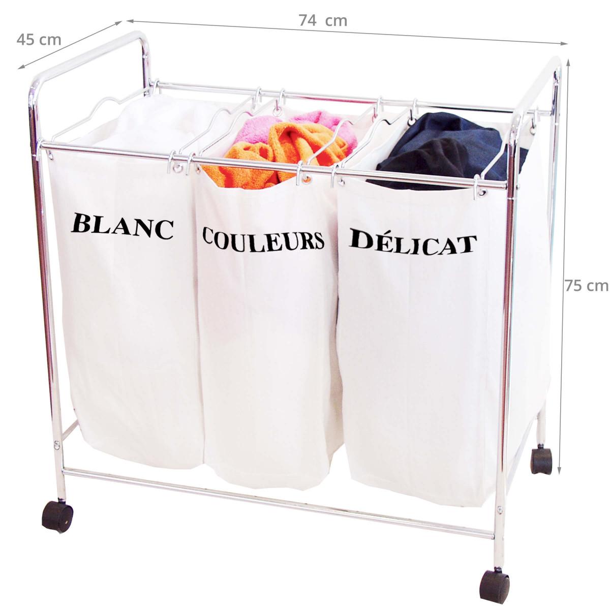 panier linge 3 compartiments tissu. Black Bedroom Furniture Sets. Home Design Ideas