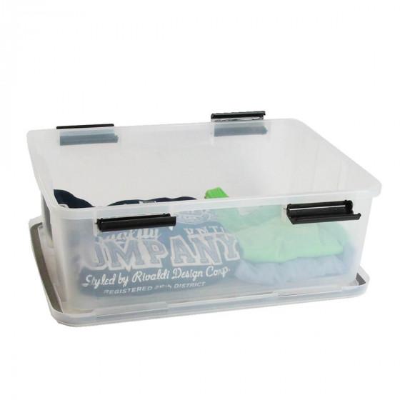Boîte de stockage étanche en plastique translucide. 29 Litres