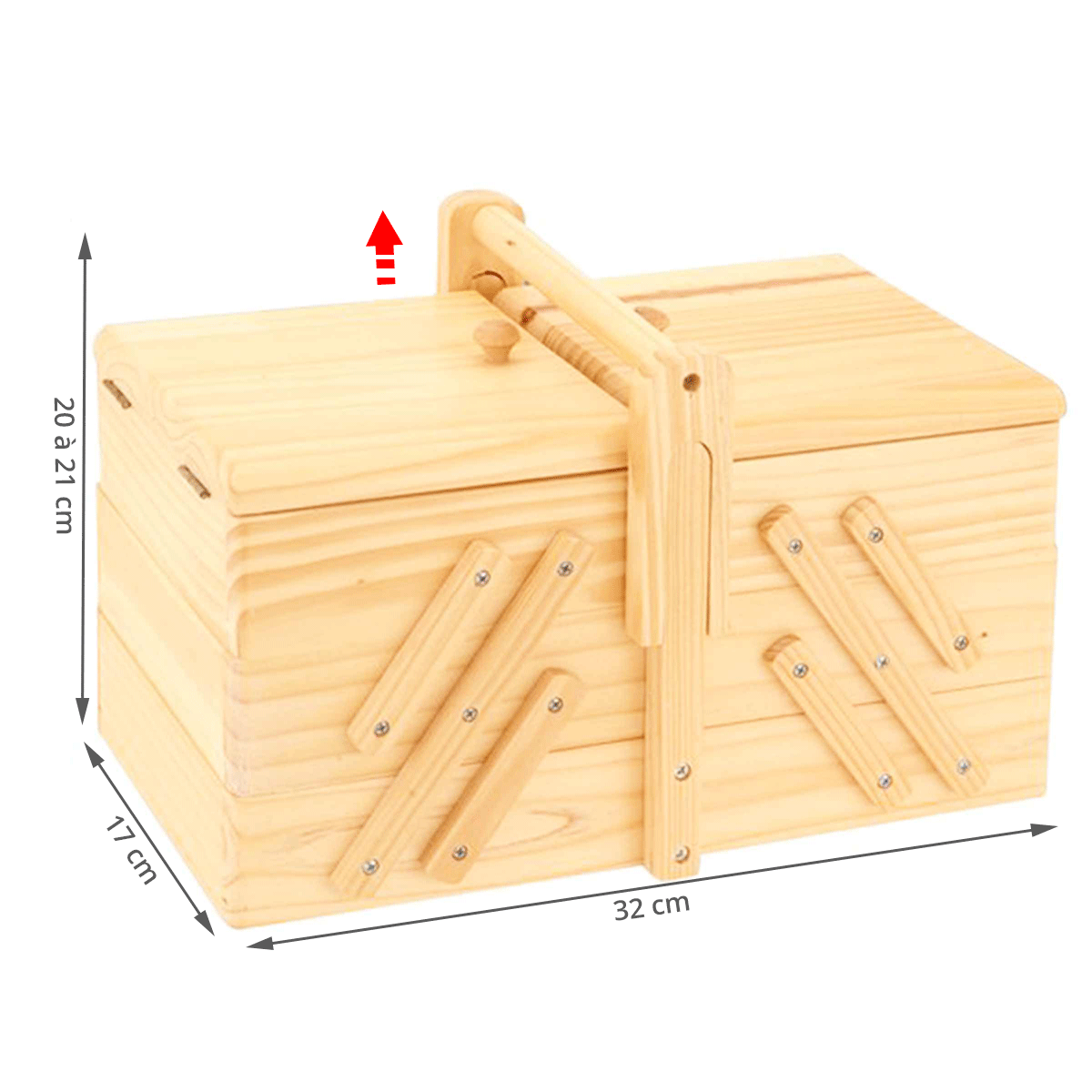 Bo te couture en bois travailleuse rangement for Boite a couture en bois