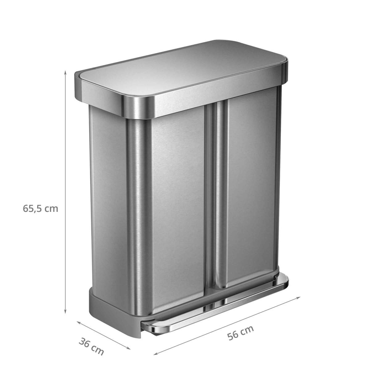 Poubelle de tri 2 compartiments 58l - Poubelle tri selectif grande contenance ...