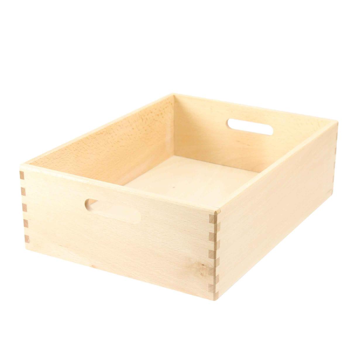 bac de rangement en bois clair 40x30x14. Black Bedroom Furniture Sets. Home Design Ideas