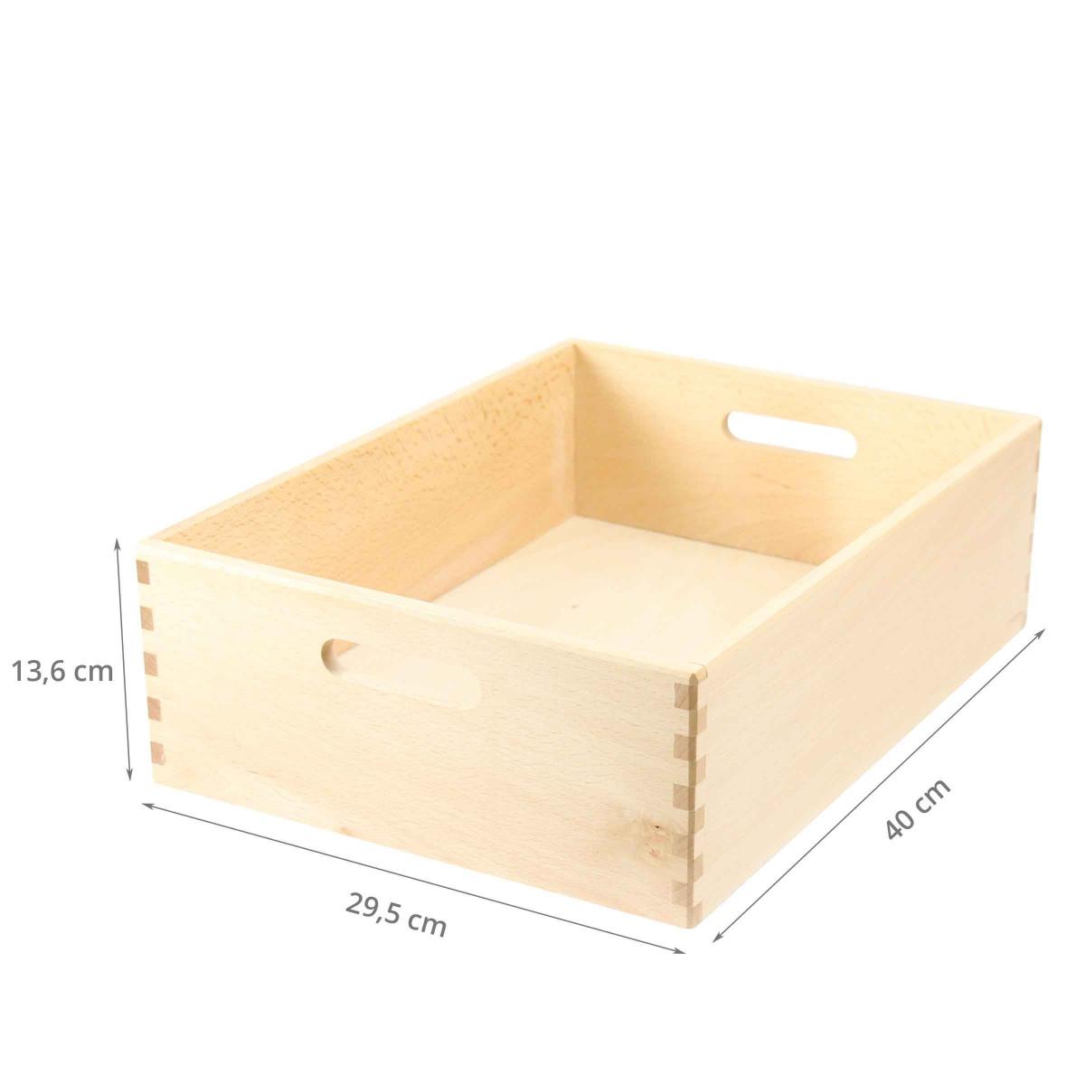 Bac de rangement en bois clair - 40X30X14