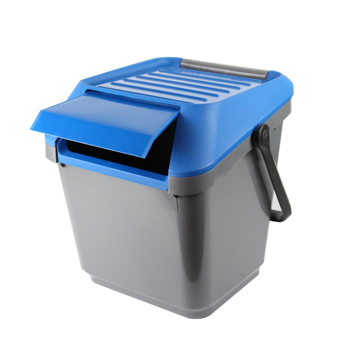 poubelle de recyclage bleue empilable tri cuisine. Black Bedroom Furniture Sets. Home Design Ideas