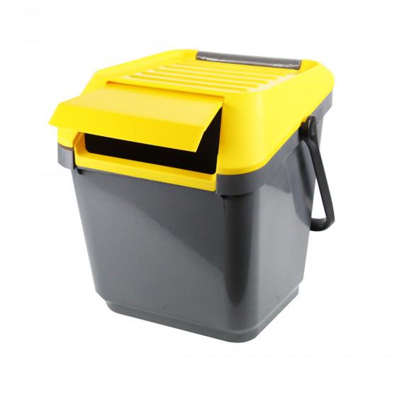 Poubelle de recyclage grise et jaune