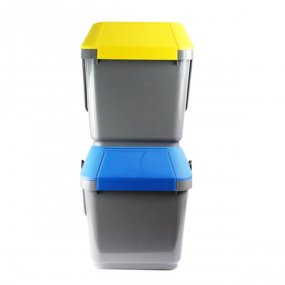 poubelle de recyclage grise et jaune empilable tri. Black Bedroom Furniture Sets. Home Design Ideas