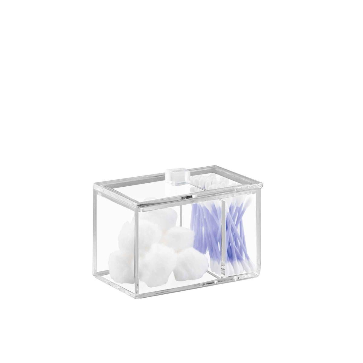 bo te rectangulaire coton et coton tiges transparente. Black Bedroom Furniture Sets. Home Design Ideas