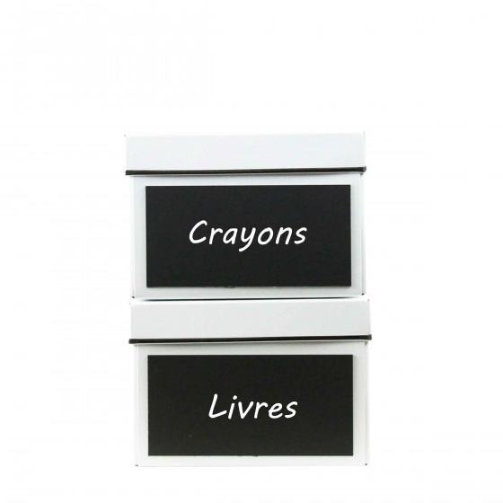 2 boîtes de rangement avec ardoise