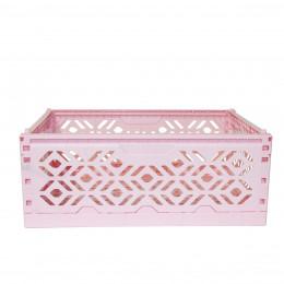 Cagette en plastique rose empilable et pliable