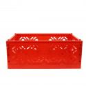 Cagette en plastique rouge empilable et pliable