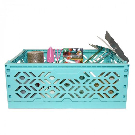 cagette empilable et pliable turquoise jardin. Black Bedroom Furniture Sets. Home Design Ideas