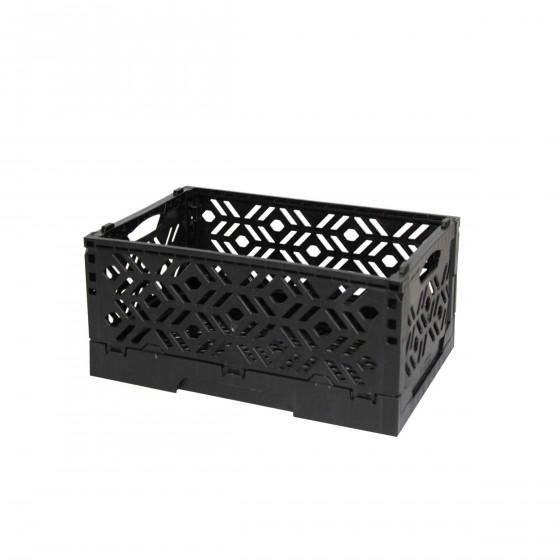 Mini Cagette en plastique noir empilable et pliable