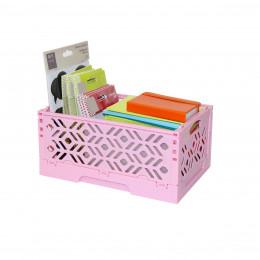 Mini Cagette en plastique rose empilable et pliable