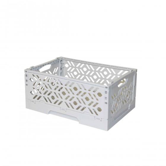 Mini Cagette en plastique gris clair empilable et pliable