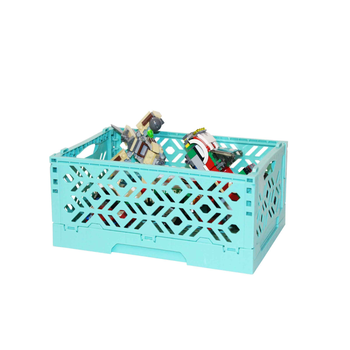 mini cagette turquoise empilable et pliable rangement. Black Bedroom Furniture Sets. Home Design Ideas