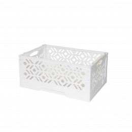 Mini Cagette en plastique blanc empilable et pliable