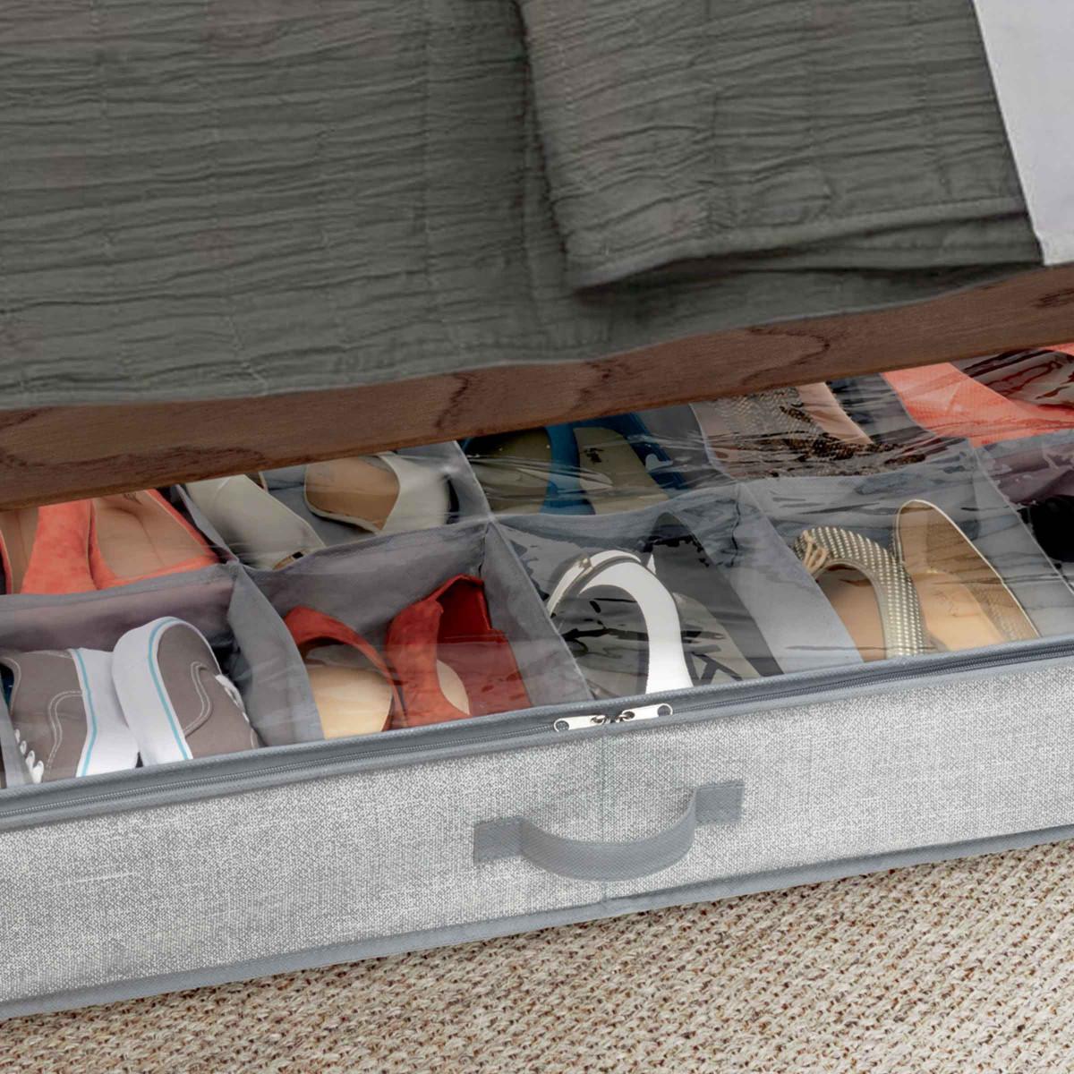 rangement chaussures sous le lit 12 paires. Black Bedroom Furniture Sets. Home Design Ideas