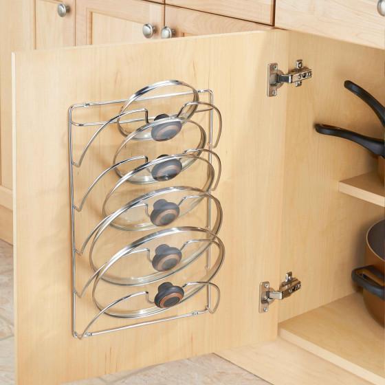 support mural pour couvercles de casseroles chrom. Black Bedroom Furniture Sets. Home Design Ideas