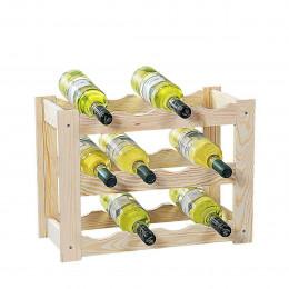 Rack à vin en pin pour 12 bouteilles