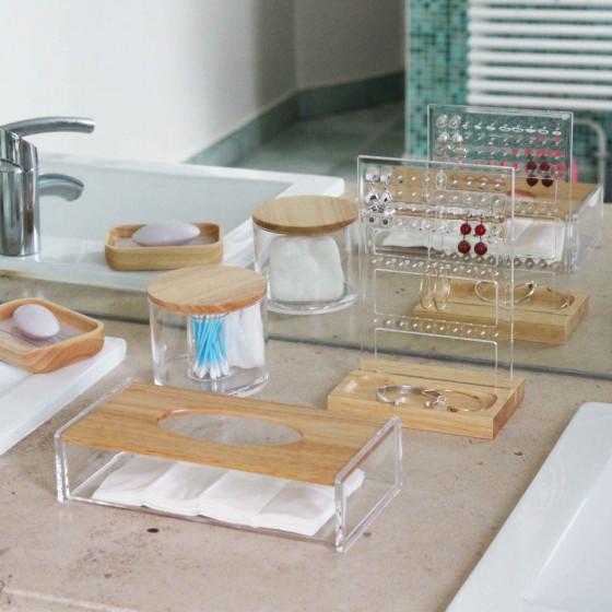 Boîte à mouchoirs transparente avec couvercle en bambou