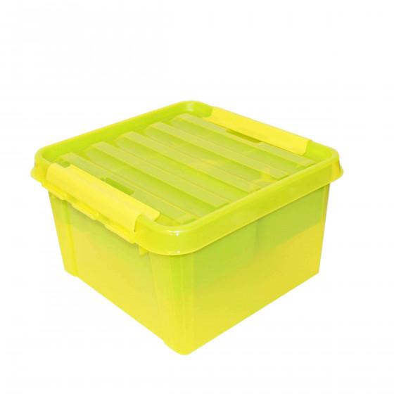 Boîte de rangement carrée jaune et verte
