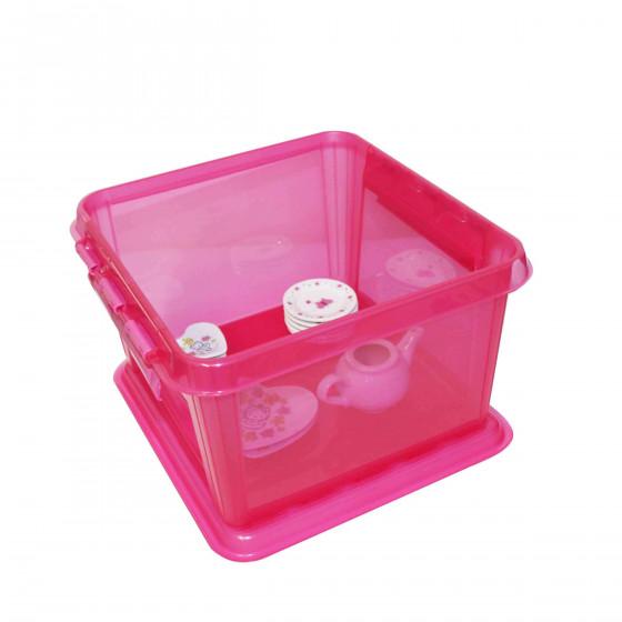 Boîte de rangement rose