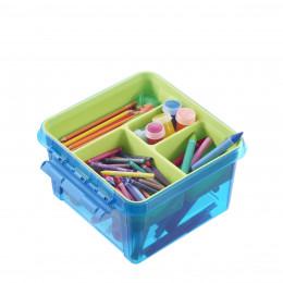 Boîte de rangement bleue à compartiments