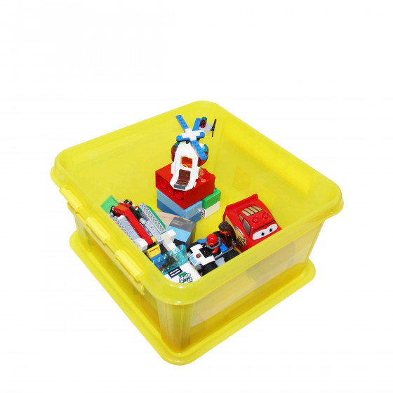 Boîte carrée en plastique jaune