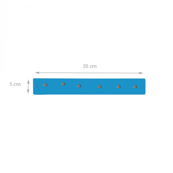 Petite barre magnétique murale bleu intense avec 6 aimants fins et puissants