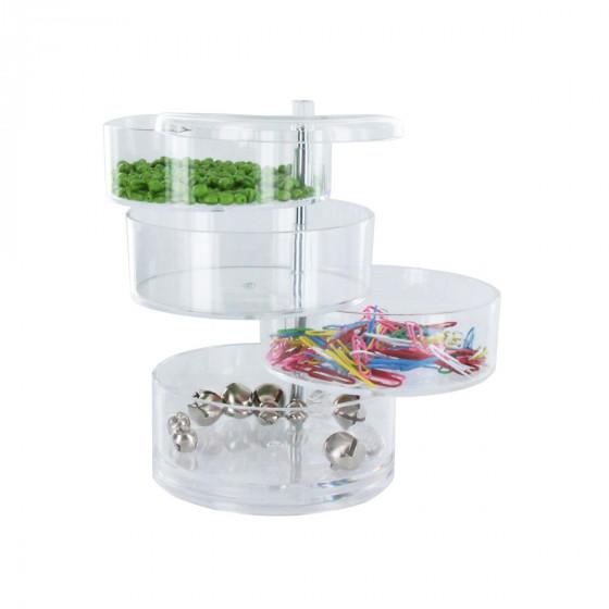 Boîte de rangement cylindrique en acrylique avec 4 niveaux