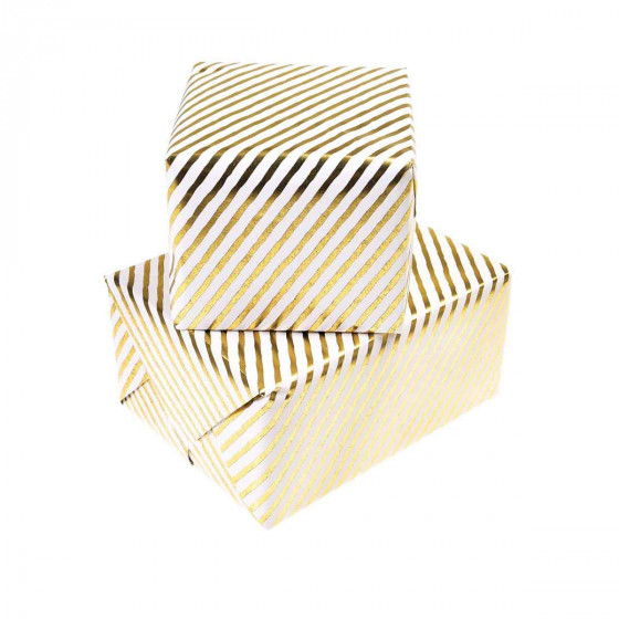 Papier cadeau rayé blanc et or