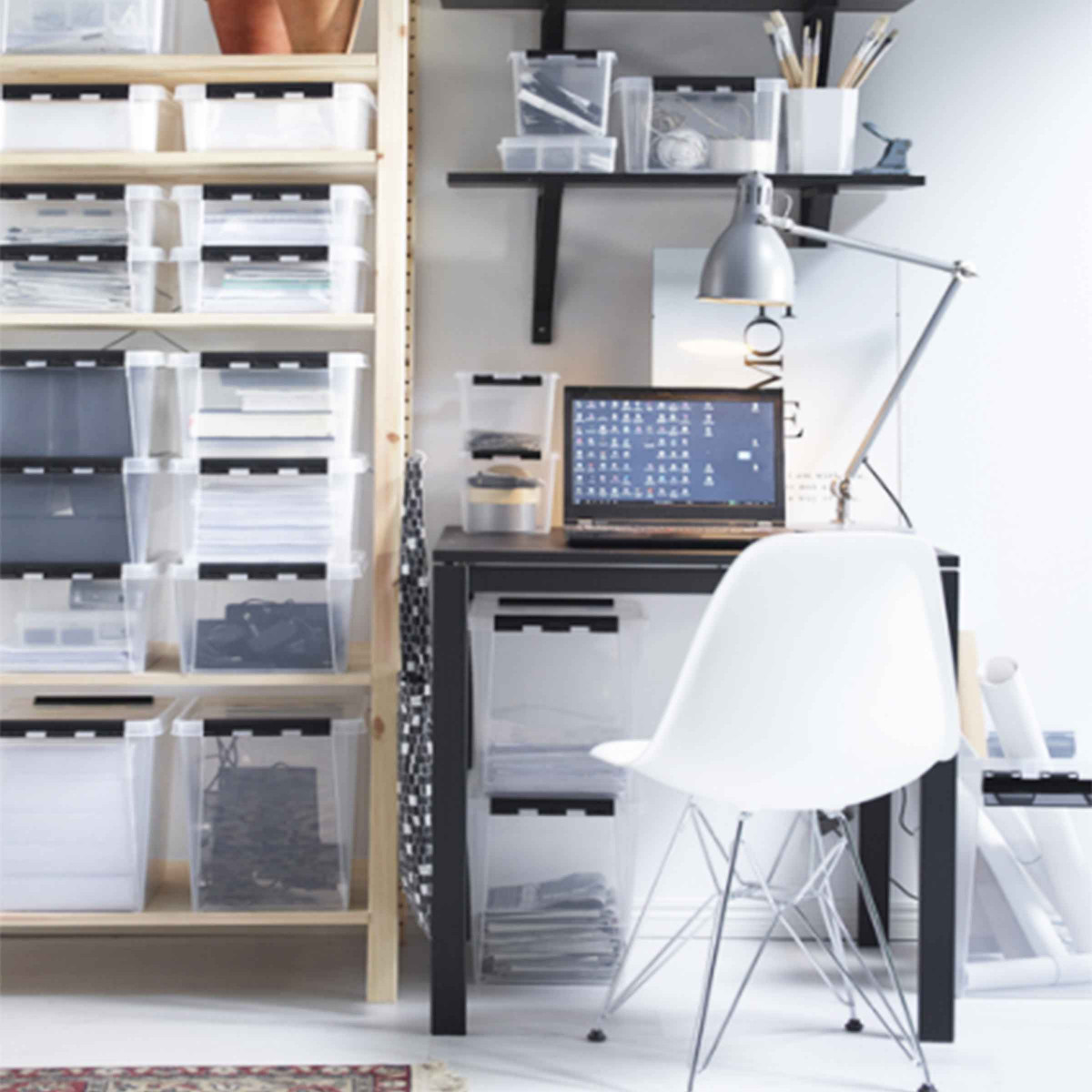 bo te de rangement 2 compartiments 14 litres. Black Bedroom Furniture Sets. Home Design Ideas