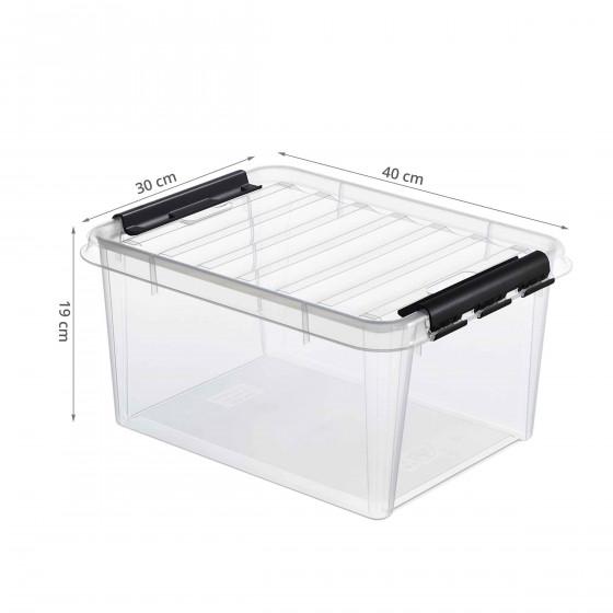 Boîte transparente avec poignées noires 14 Litres avec insert noir 2 compartiments