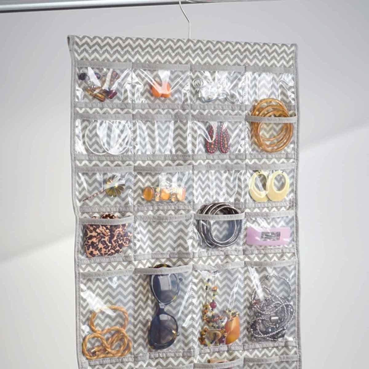 cintre organisateur bijoux 48 poches rangement accessoires