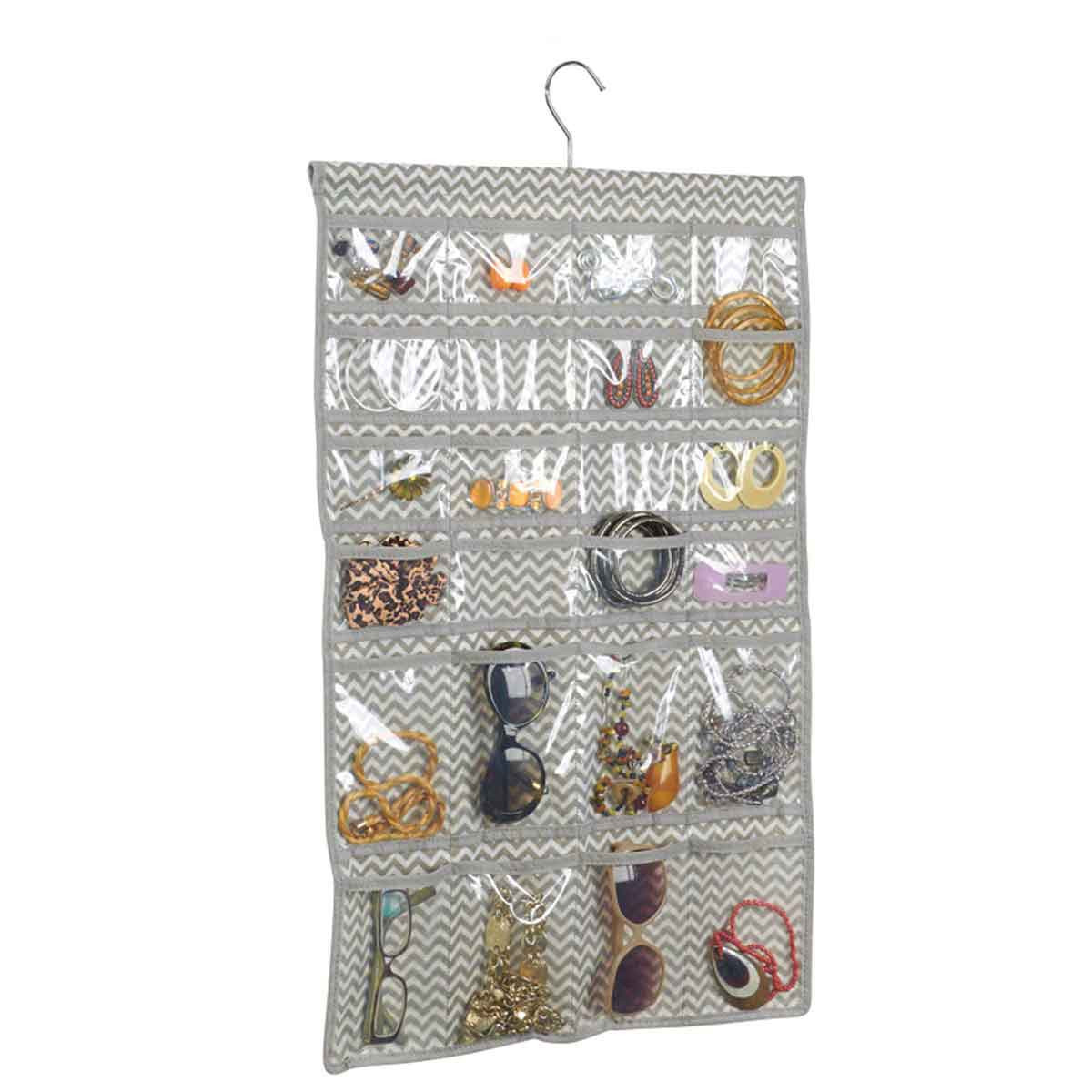 cintre organisateur bijoux 48 poches rangement accessoires. Black Bedroom Furniture Sets. Home Design Ideas