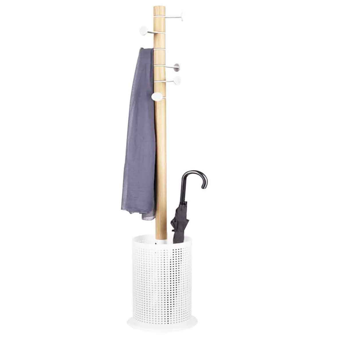 porte manteau porte parapluie bois et m tal blanc. Black Bedroom Furniture Sets. Home Design Ideas