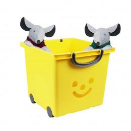 Bac à roulettes jaune pour enfant