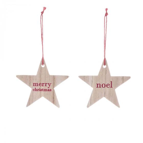 2 étoiles de Noël en bois