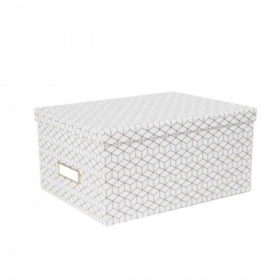 Boîte de rangement blanche et dorée