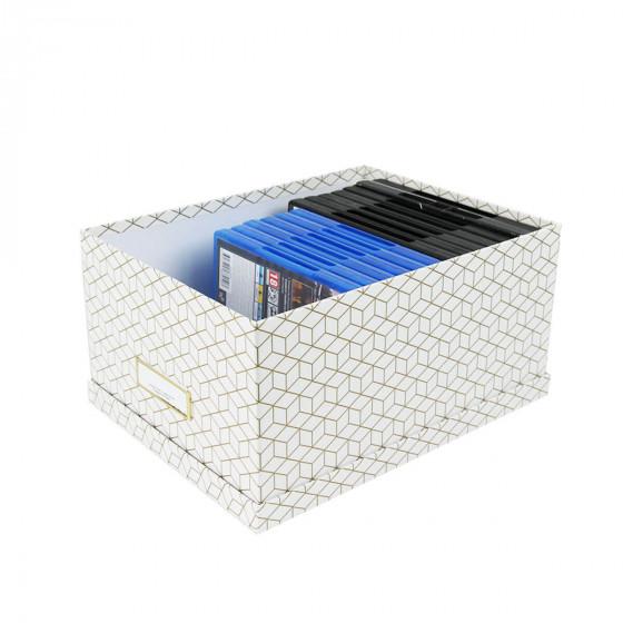 Boîte à DVD blanche et dorée