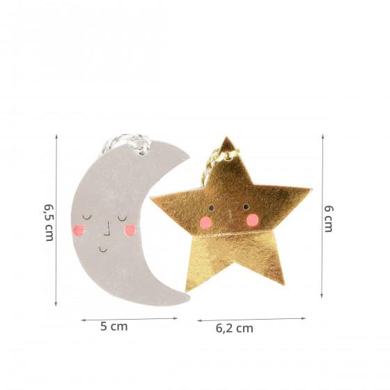 20 étiquettes de Noël fantaisie Lune et étoile