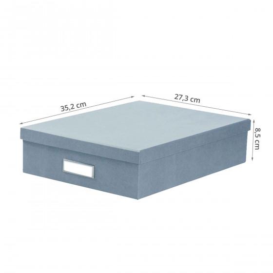 Boîte de rangement A4 en carton bleu gris