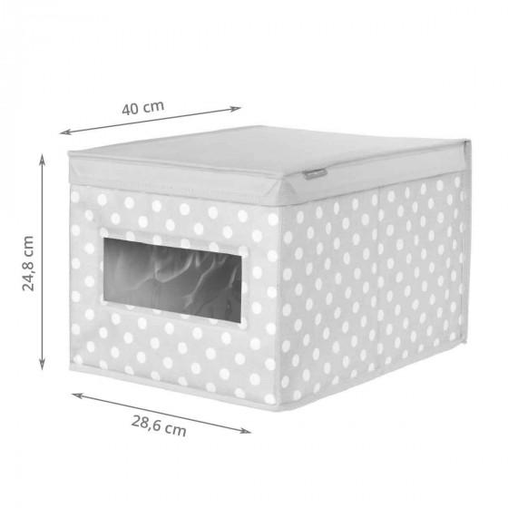 Boîte de rangement en tissu gris à pois (L)