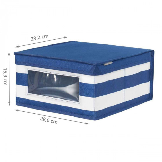 Boîte de rangement en tissu à rayuresavec fenêtre M
