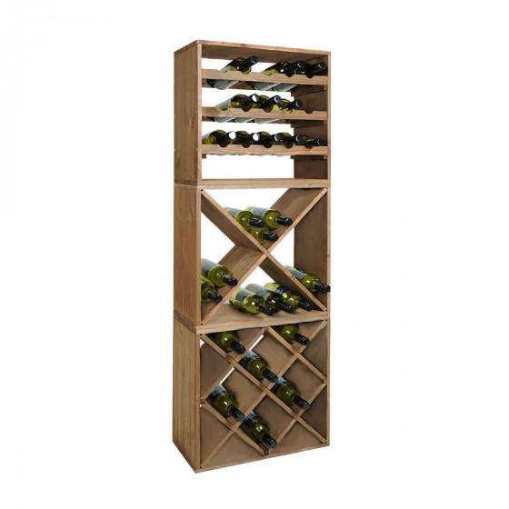 Casier à bouteilles en bois avec 4 compartiments en croisillon
